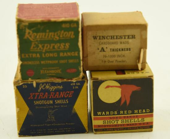 (3) Full boxes of vintage .410 ammo to include: J.C. Higgins, Remington and Wards Red Head, also