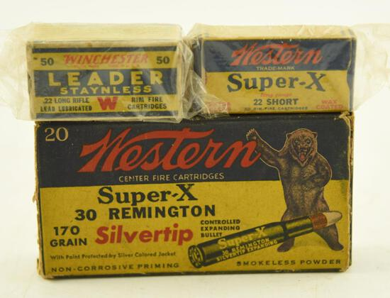 Box of vintage Western Super X .22 short, Vintage box of Winchester Leader .22 long rifle,