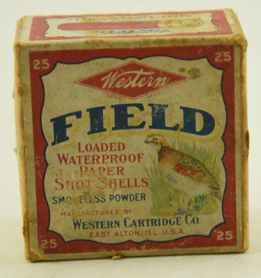 Vintage full box of Western Cartridge Co. Super X 16 gauge paper shotgun shells unopened
