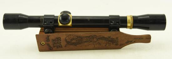 The Boss Wooden Turkey Call with Smitty Rue signed on underside and Marlin 4 power rifle scope