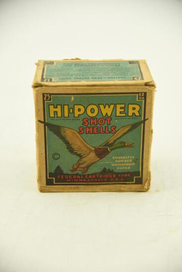 Vintage box of Federal Cartridge Co. Hi-Power 12 gauge 4 shot unopened