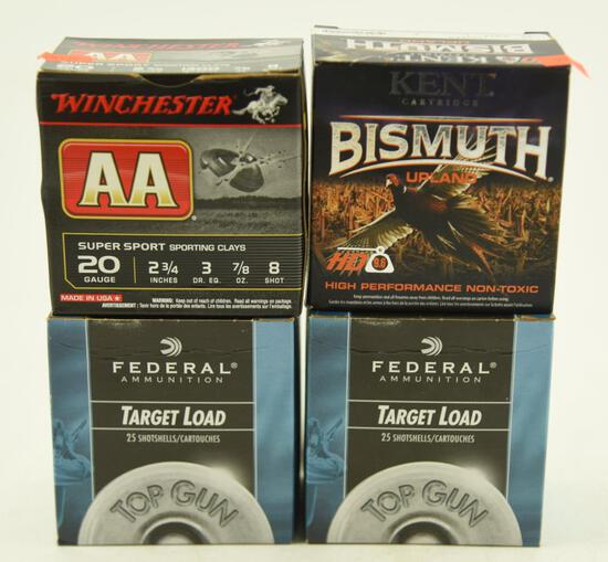 """(2) full boxes of Federal 20 gauge 2 ½"""" 8 shot and (2) full boxes of Winchester 20 gauge 2 ¾"""" #8"""