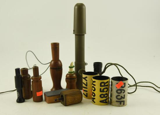 Bag of vintage calls: Jim Blakemore Illinois, Lohman, and others and (3) neck bands