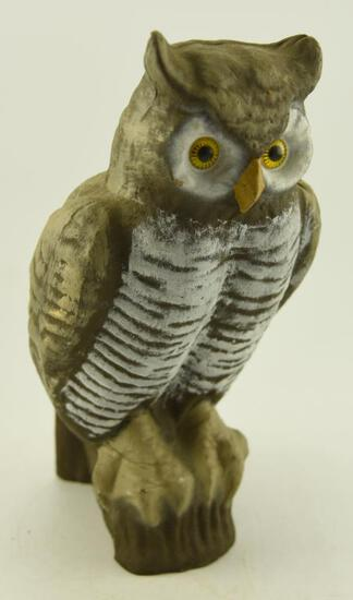 """Vintage Victor Factory paper mache Owl decoy with beaded eyes (excellent condition) 16"""""""
