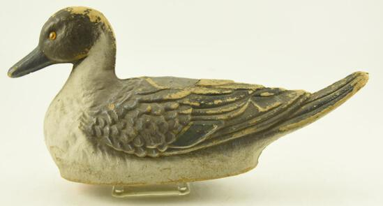 """Vintage General Fibre Decoy Co. Pintail Drake with personal note from Smitty Rue """"Try to Find"""