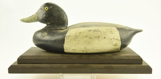 Lot #319 - Factory Bluebill Drake decoy on wooden stand Saybrooke, CT with gunning wear A51.108