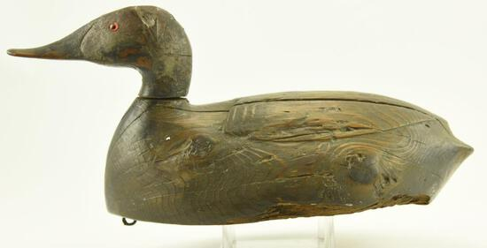 Lot #321 - 1931 L.T. Ward Bro. Crisfield, MD Primitive Cedar Body Canvasback Hen Decoy signed