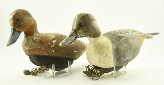 Lot #322 - Pair of 1992 Mike Savage Pintails Hen and drake both signed on underside with wooden