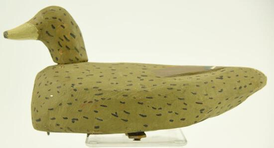 Lot #326 - Teal decoy by Lauren Virden with Nail Keel weight
