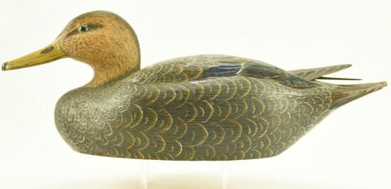 Lot #337 - Lewis Shelton 1981 Black Duck Decoy with raised wing feathers original paint signed
