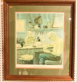 "Lot #515 -Framed Harryman print signed by Lem Ward and Steve Ward of ""L.T. Ward & Bro Wildfowl"