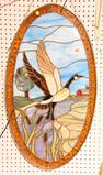 Lot #517 -Custom Stained glass panel of Flying Canada Goose by Dean Goslee 1989 Signed by Artist