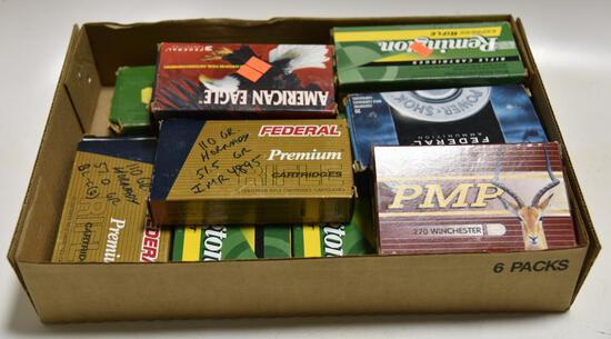 Lot #6 -Flat of miscellaneous reloaded rifle ammo and empty brass casings to include but not