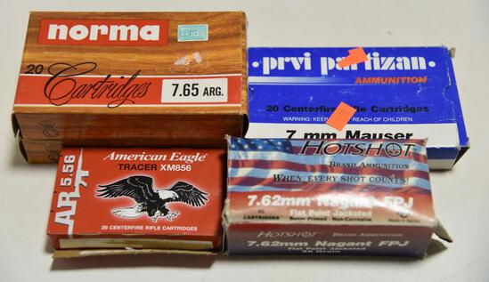 Lot #8 -(2) full boxes of Norma 7.65 Arg 40rds (1) box Prvi partisan 7mm Mauser Ammo 20rds,