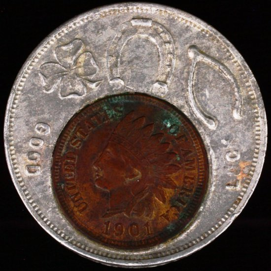 Encased 1901 U.S. Indian cent