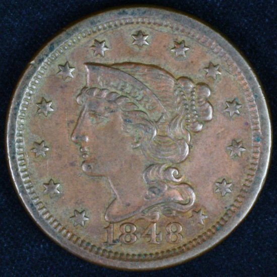 1848 U.S. braided hair large cent