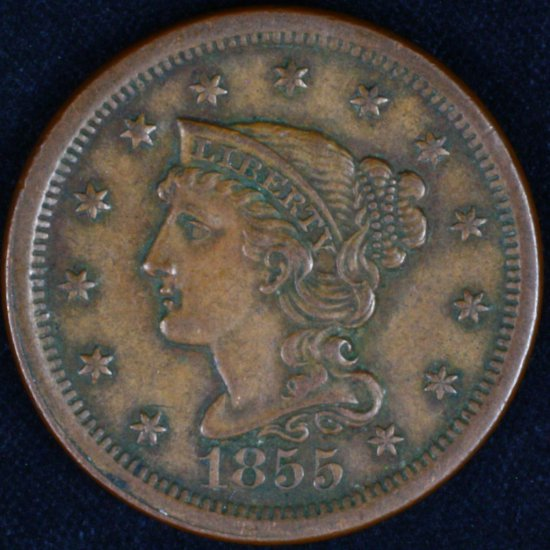 1855 U.S. braided hair large cent