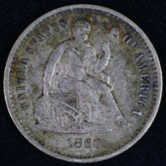 1860 U.S. seated Liberty half dime