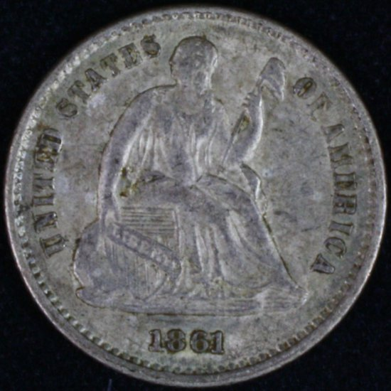 1861 U.S. seated Liberty half dime