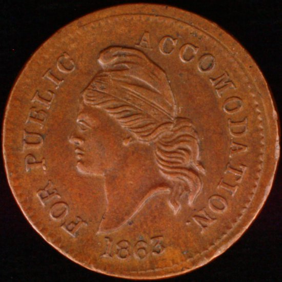 Circa 1863 U.S. bronze patriotic Civil War token
