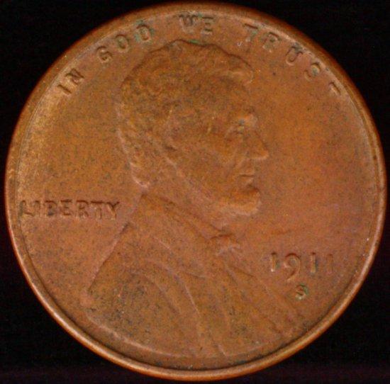 1911-S U.S. Lincoln cent