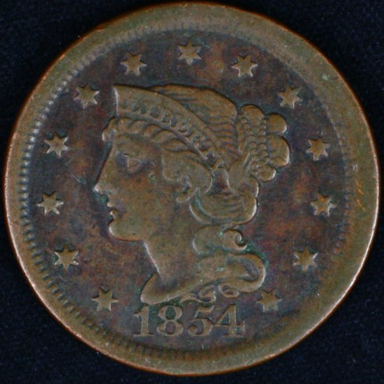 1854 U.S. braided hair large cent