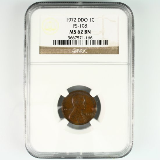 Certified 1972 double die U.S. Lincoln cent