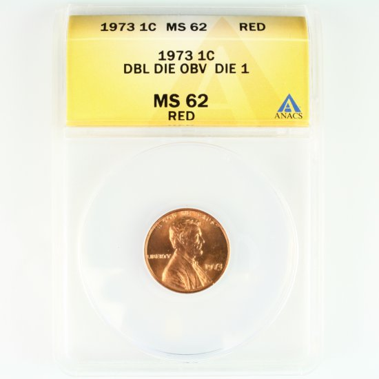 Certified 1973 double die U.S. Lincoln cent