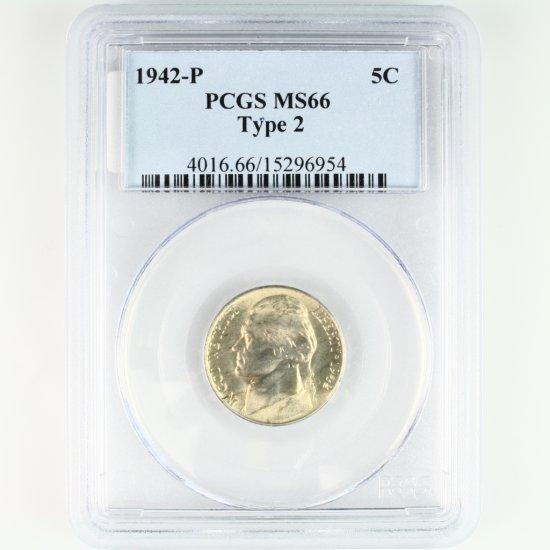 Certified 1942-P type 2 U.S. Jefferson nickel