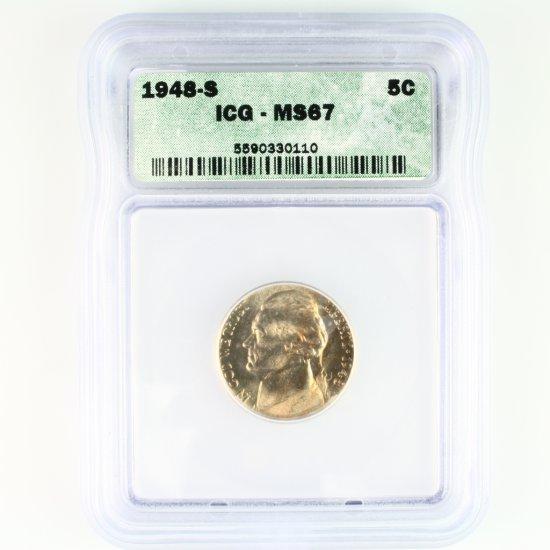 Certified 1948-S U.S. Jefferson nickel