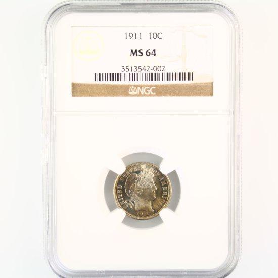 Certified 1911 U.S. Barber dime