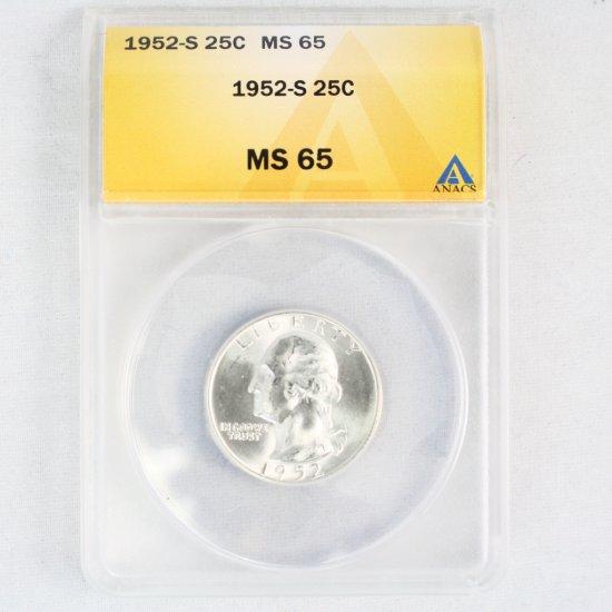 Certified 1952-S U.S. Washington quarter
