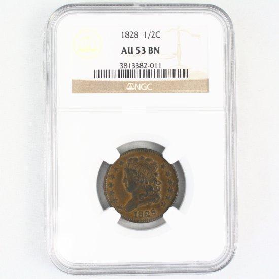 Certified 1828 U.S. classic half cent