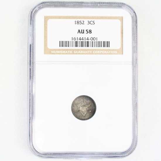 Certified 1852 U.S. 3-cent silver