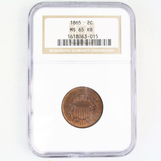 Certified 1865 U.S. 2-cent piece