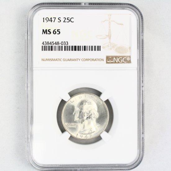 Certified 1947-S U.S. Washington quarter