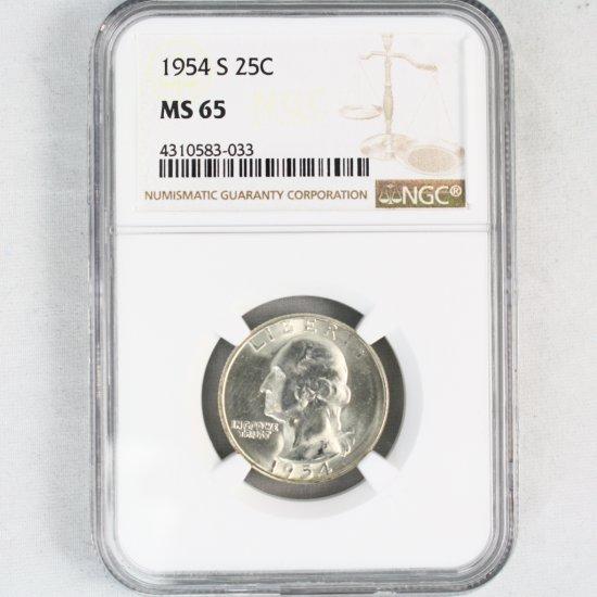 Certified 1954-S U.S. Washington quarter