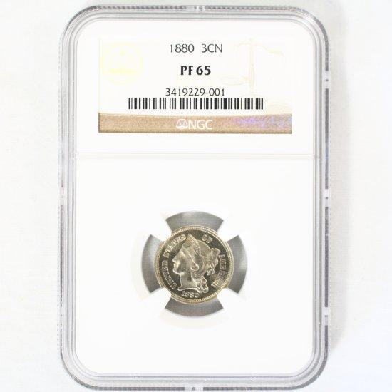 Certified 1880 U.S. proof 3-cent nickel