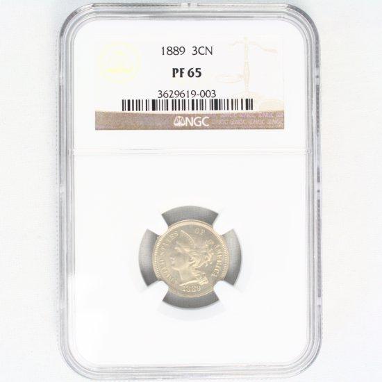 Certified 1889 U.S. proof 3-cent nickel