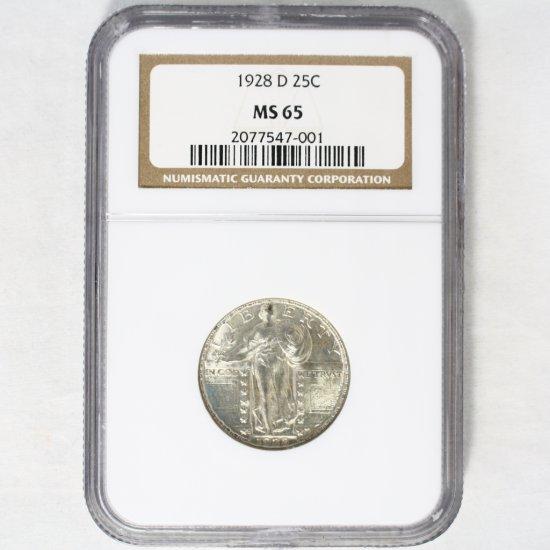 Certified 1928-D U.S. standing Liberty quarter