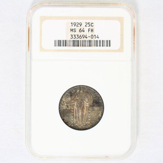 Certified 1929 U.S. standing Liberty quarter