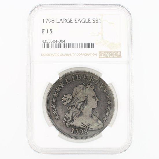 Certified 1798 U.S. bust silver dollar