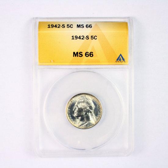 Certified 1942-S U.S. 35% silver Jefferson nickel