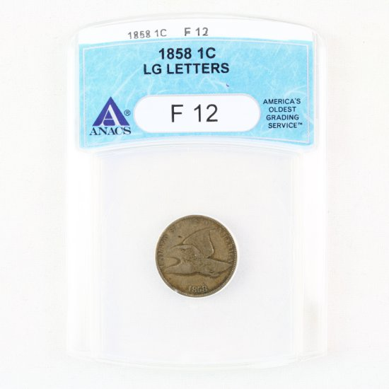 Certified 1858 large letters U.S. flying eagle cent