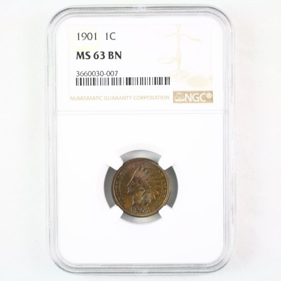 Certified 1901 U.S. Indian cent