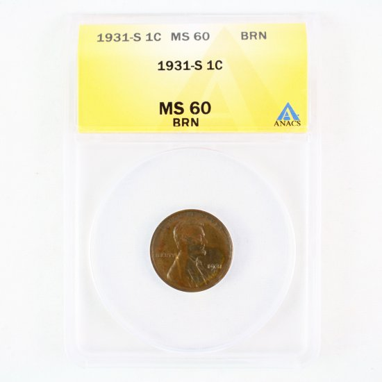 Certified 1931-S U.S. Lincoln cent
