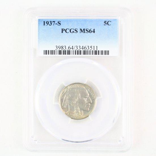 Certified 1937-S U.S. buffalo nickel