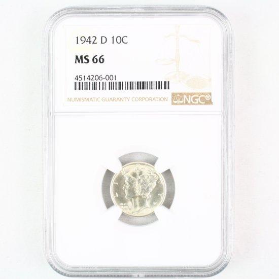 Certified 1942-D U.S. Mercury dime