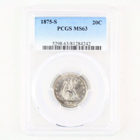 Certified 1875-S U.S. 20-cent piece