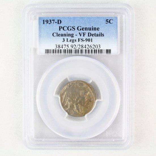 Certified 1937-D 3-legged U.S. buffalo nickel FS901